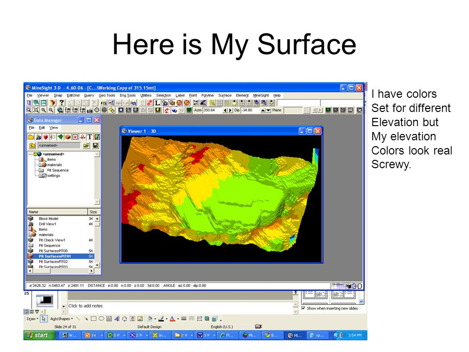 Here is My Surface I have colors Set for different Elevation but My elevation Colors look real Screwy.