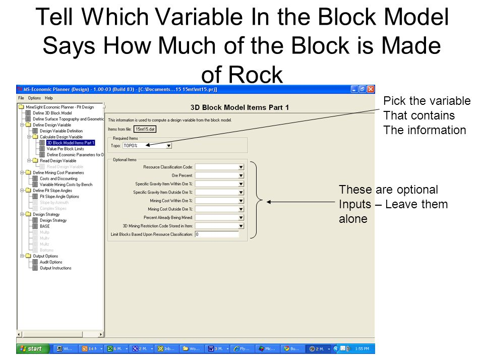 Tell Which Variable In the Block Model Says How Much of the Block is Made of Rock Pick the variable That contains The information These are optional I