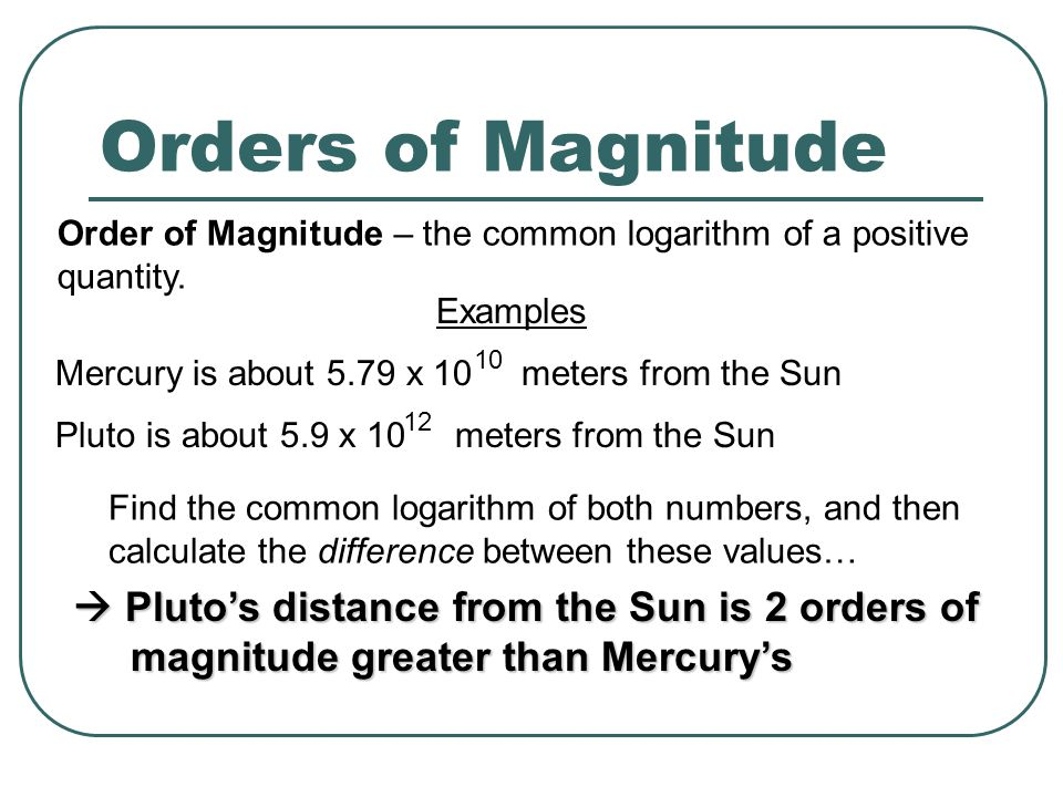 Orders of Magnitude Order of Magnitude – the common logarithm of a positive quantity.