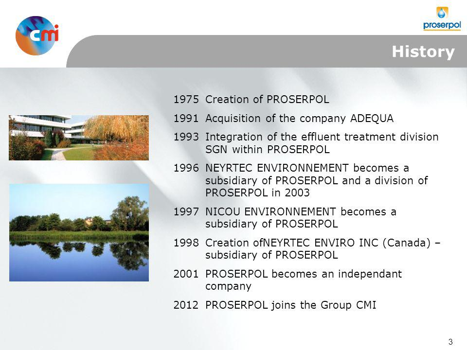 3 1975Creation of PROSERPOL 1991Acquisition of the company ADEQUA 1993Integration of the effluent treatment division SGN within PROSERPOL 1996NEYRTEC ENVIRONNEMENT becomes a subsidiary of PROSERPOL and a division of PROSERPOL in 2003 1997NICOU ENVIRONNEMENT becomes a subsidiary of PROSERPOL 1998Creation ofNEYRTEC ENVIRO INC (Canada) – subsidiary of PROSERPOL 2001PROSERPOL becomes an independant company 2012PROSERPOL joins the Group CMI History