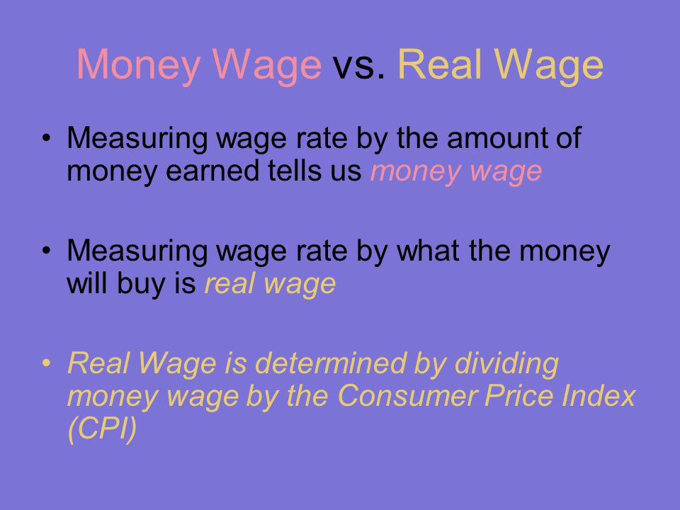 Money Wage vs.