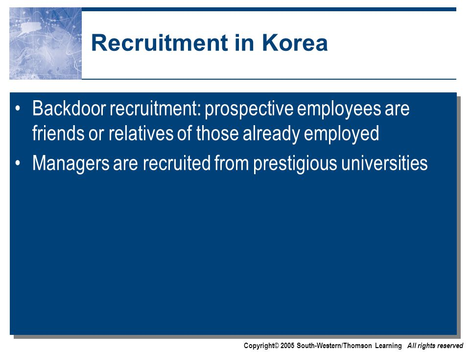 Copyright© 2005 South-Western/Thomson Learning All rights reserved Recruitment in Korea Backdoor recruitment: prospective employees are friends or relatives of those already employed Managers are recruited from prestigious universities Backdoor recruitment: prospective employees are friends or relatives of those already employed Managers are recruited from prestigious universities