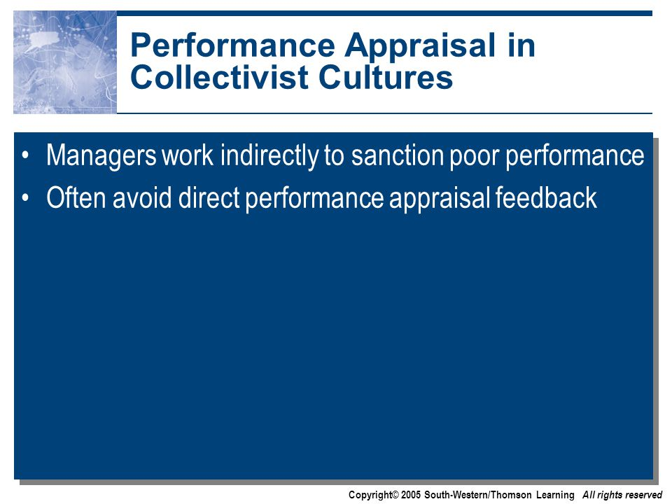 Copyright© 2005 South-Western/Thomson Learning All rights reserved Performance Appraisal in Collectivist Cultures Managers work indirectly to sanction poor performance Often avoid direct performance appraisal feedback Managers work indirectly to sanction poor performance Often avoid direct performance appraisal feedback