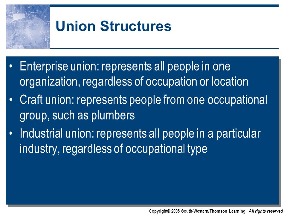 Copyright© 2005 South-Western/Thomson Learning All rights reserved Union Structures Enterprise union: represents all people in one organization, regardless of occupation or location Craft union: represents people from one occupational group, such as plumbers Industrial union: represents all people in a particular industry, regardless of occupational type Enterprise union: represents all people in one organization, regardless of occupation or location Craft union: represents people from one occupational group, such as plumbers Industrial union: represents all people in a particular industry, regardless of occupational type