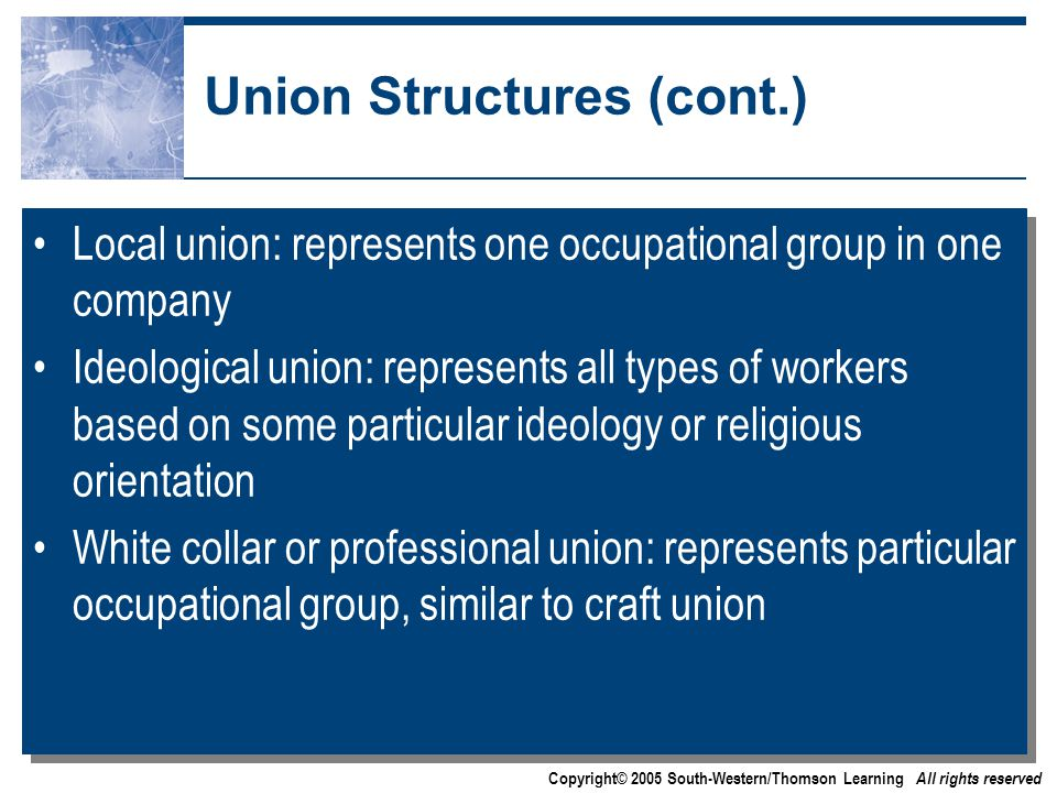 Copyright© 2005 South-Western/Thomson Learning All rights reserved Union Structures (cont.) Local union: represents one occupational group in one company Ideological union: represents all types of workers based on some particular ideology or religious orientation White collar or professional union: represents particular occupational group, similar to craft union Local union: represents one occupational group in one company Ideological union: represents all types of workers based on some particular ideology or religious orientation White collar or professional union: represents particular occupational group, similar to craft union