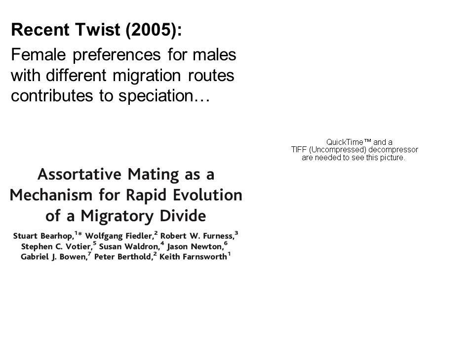 Recent Twist (2005): Female preferences for males with different migration routes contributes to speciation…