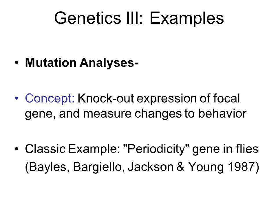 Genetics III: Examples Mutation Analyses- Concept: Knock-out expression of focal gene, and measure changes to behavior Classic Example: Periodicity gene in flies (Bayles, Bargiello, Jackson & Young 1987)