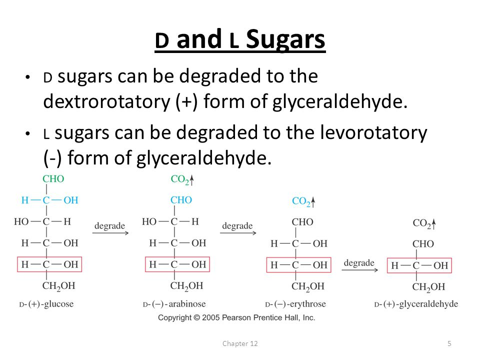 All naturally occurring sugars can be degraded to: A) D-(-)-glyceraldehyde B) D-(+)-glyceraldehyde C) L-(-)-glyceraldehyde D) L-(+)-glyceraldehyde E) none of the above