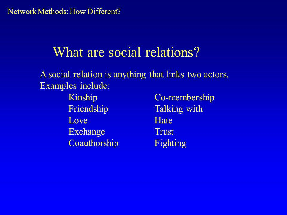 What are social relations.A social relation is anything that links two actors.
