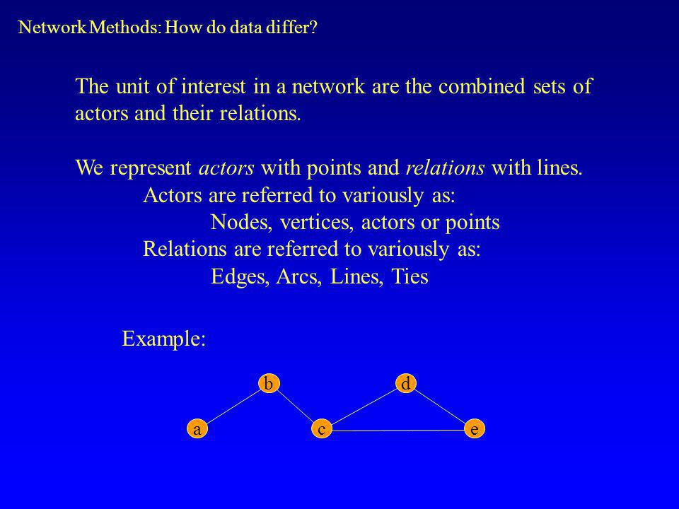 The unit of interest in a network are the combined sets of actors and their relations.