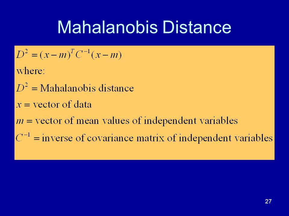 Mahalanobis Distance 27