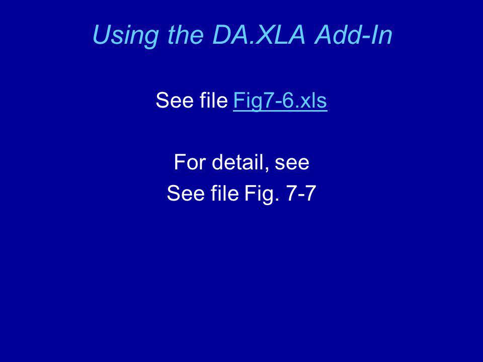 Using the DA.XLA Add-In See file Fig7-6.xlsFig7-6.xls For detail, see See file Fig. 7-7