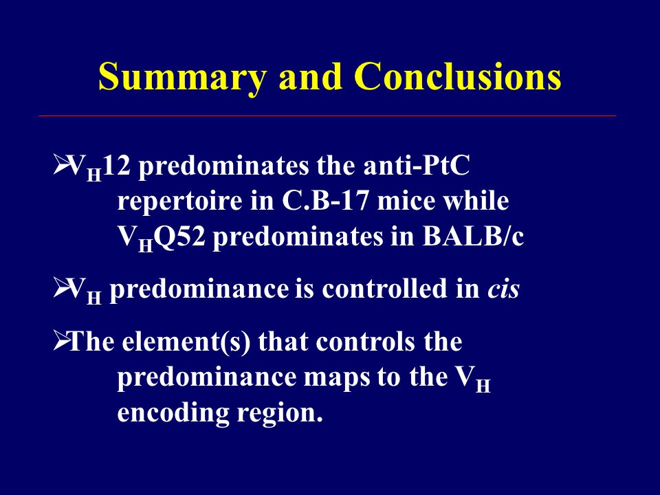 Summary and Conclusions  V H 12 predominates the anti-PtC repertoire in C.B-17 mice while V H Q52 predominates in BALB/c  V H predominance is controlled in cis  The element(s) that controls the predominance maps to the V H encoding region.