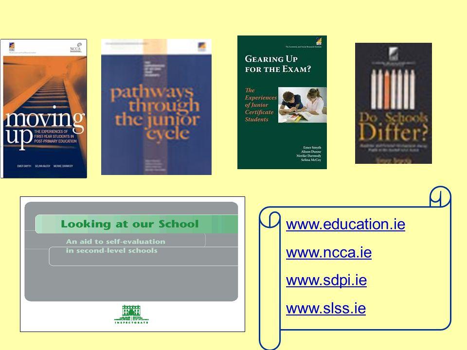 www.education.ie www.ncca.ie www.sdpi.ie www.slss.ie