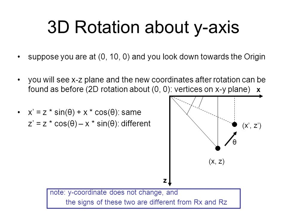 3D Rotation about y-axis suppose you are at (0, 10, 0) and you look down towards the Origin you will see x-z plane and the new coordinates after rotat