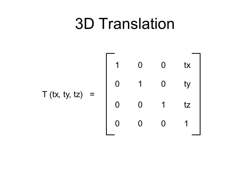 OpenGL Transformation OpenGL transform commands are applied in reverse order for example, glScalef(3, 1, 1);  S(3,1,1) glRotatef(45, 1, 0, 0);  Rx(45) glTranslatef(10, 20, 0);  T(10,20,0) line.draw();  line is drawn translated, rotated and scaled transformations occur in reverse order to reflect matrix multiplication from right to left –S(3,1,1) * Rx(45) * T(10, 20, 0) * line = (S * (R * T)) * line user can compute S * R * T and issue glMultMatrixf(matrix); –multiplies matrix with the global transformation matrix