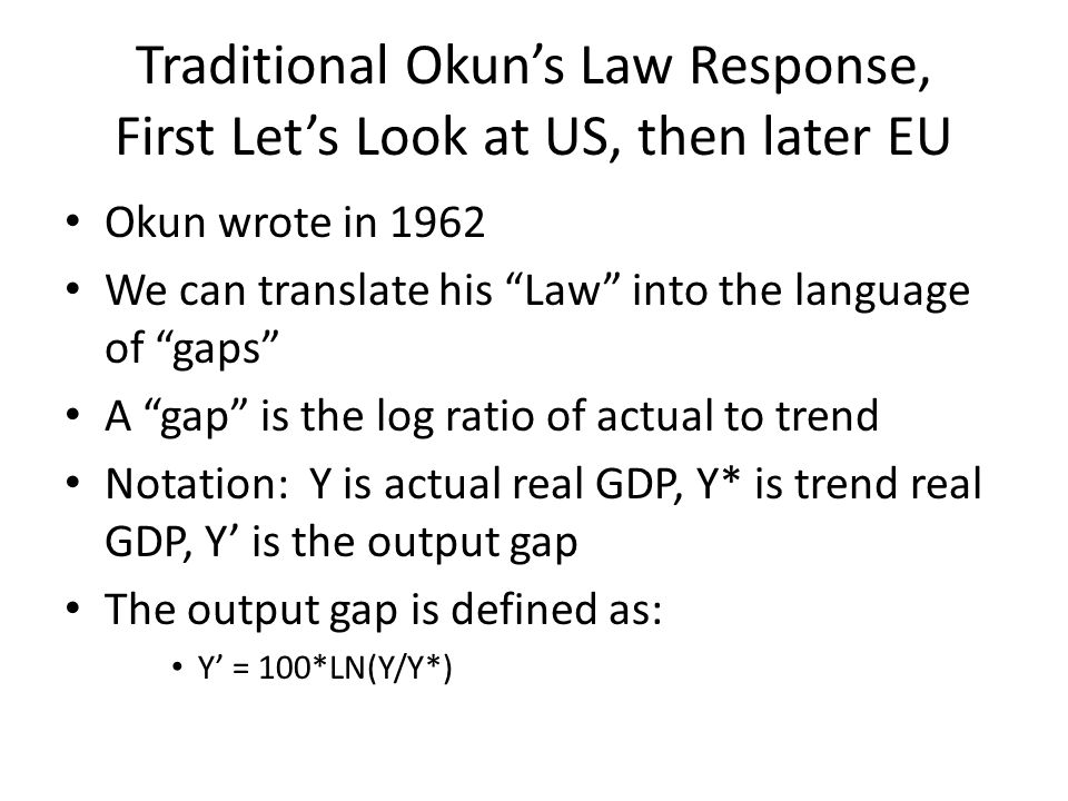 """Traditional Okun's Law Response, First Let's Look at US, then later EU Okun wrote in 1962 We can translate his """"Law"""" into the language of """"gaps"""" A """"ga"""
