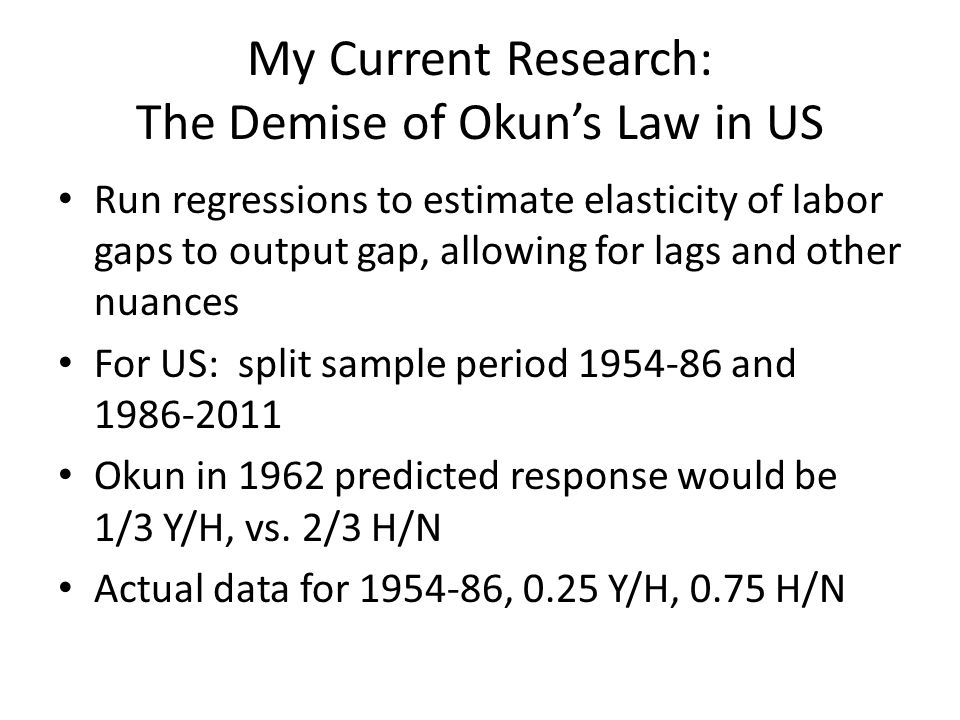My Current Research: The Demise of Okun's Law in US Run regressions to estimate elasticity of labor gaps to output gap, allowing for lags and other nu