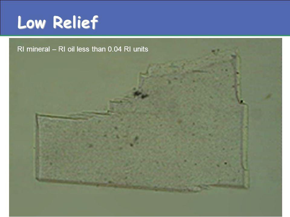 Low Relief RI mineral – RI oil less than 0.04 RI units