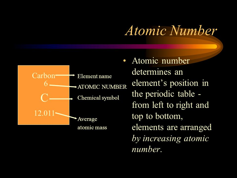 Atomic Number Atomic number determines an element's position in the periodic table - from left to right and top to bottom, elements are arranged by in
