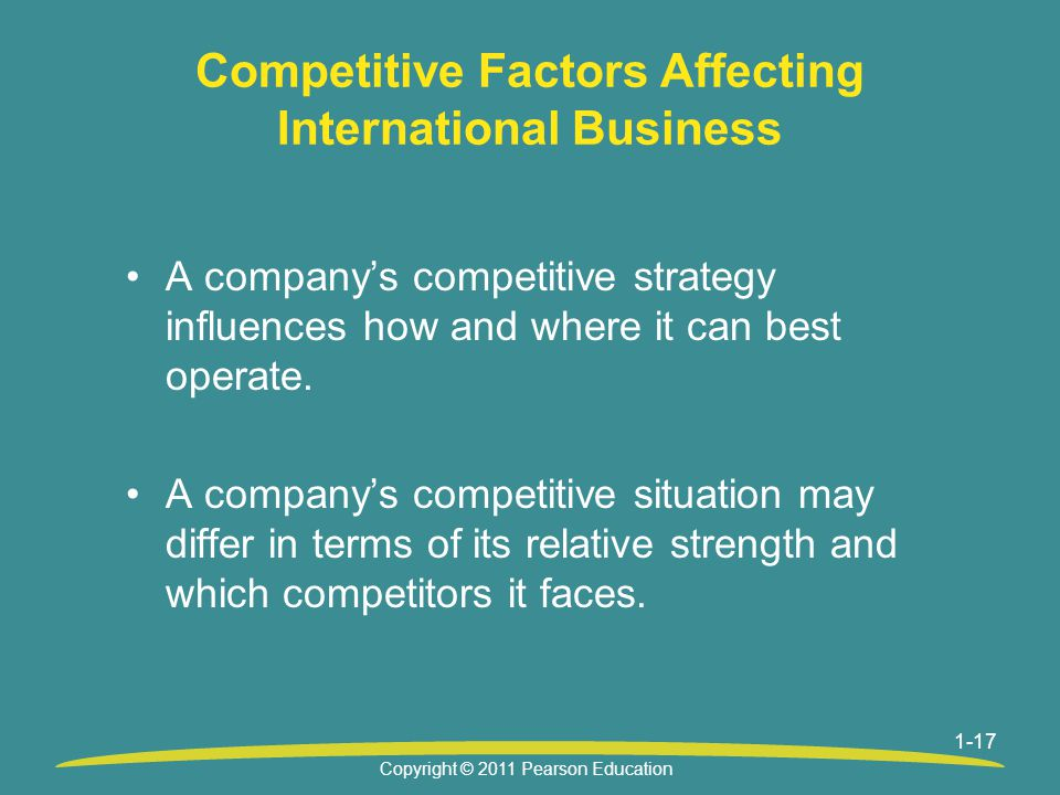 1-17 Competitive Factors Affecting International Business A company's competitive strategy influences how and where it can best operate.