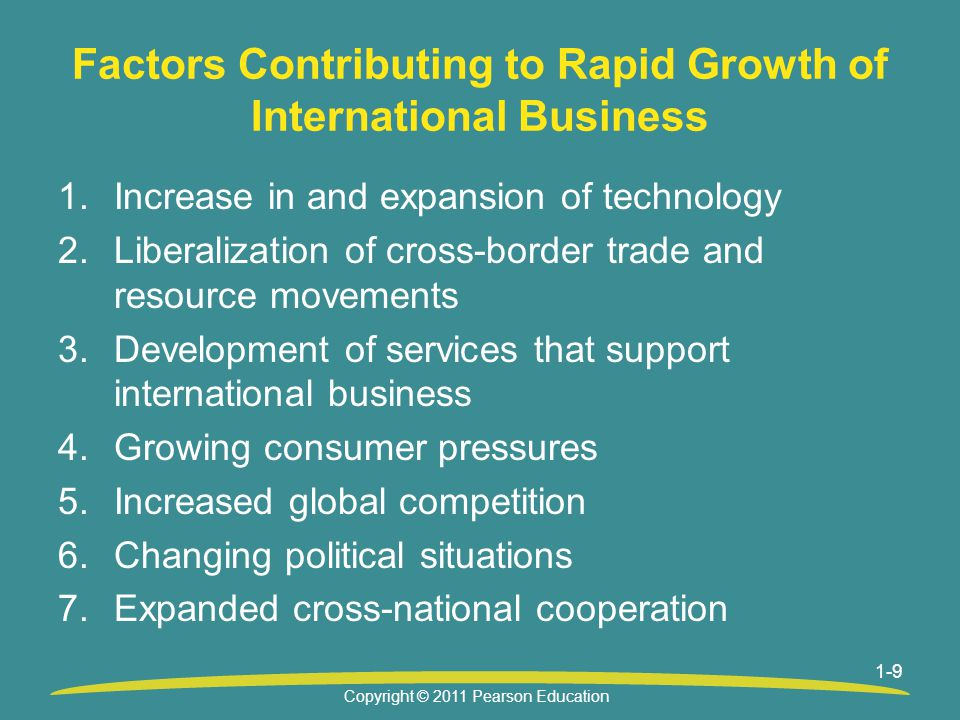 1-9 Factors Contributing to Rapid Growth of International Business 1.Increase in and expansion of technology 2.Liberalization of cross-border trade and resource movements 3.Development of services that support international business 4.Growing consumer pressures 5.Increased global competition 6.Changing political situations 7.Expanded cross-national cooperation Copyright © 2011 Pearson Education