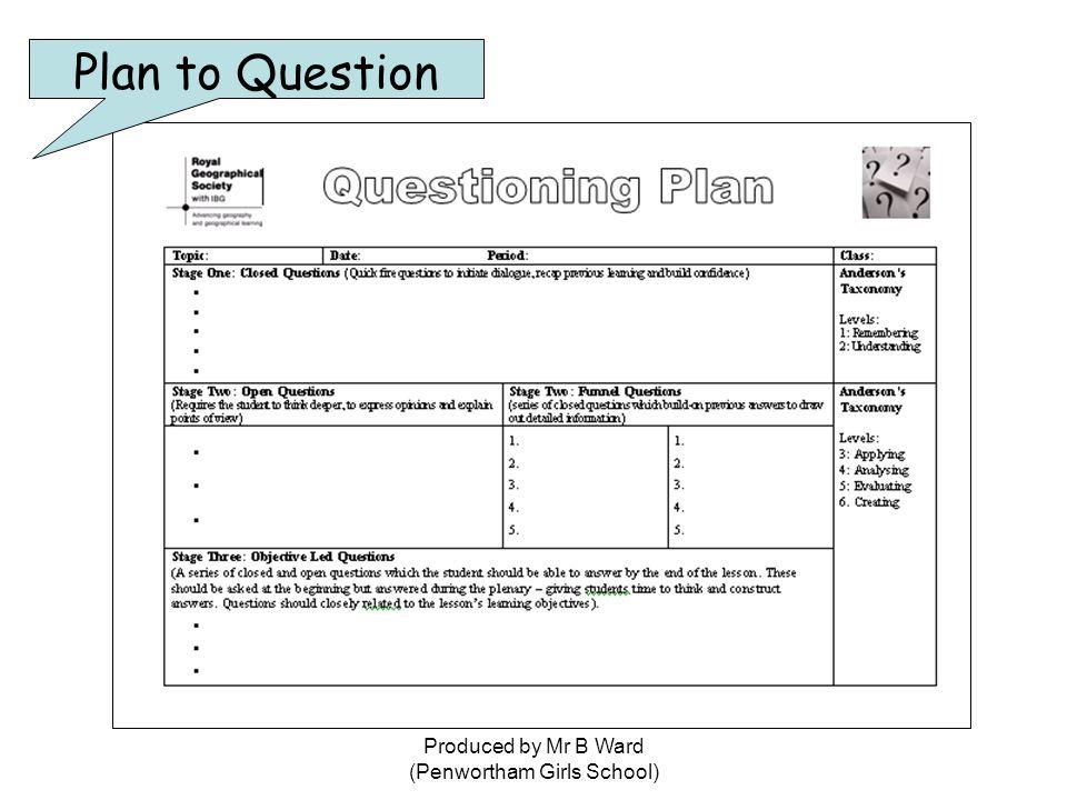 Produced by Mr B Ward (Penwortham Girls School) Plan to Question