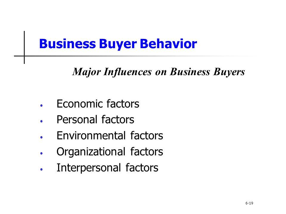 Business Buyer Behavior Major Influences on Business Buyers Economic factors Personal factors Environmental factors Organizational factors Interperson