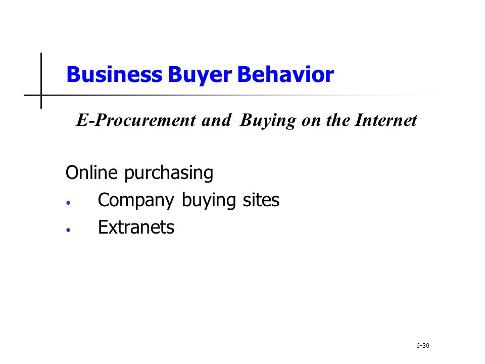 Business Buyer Behavior Online purchasing Company buying sites Extranets 6-30 E-Procurement and Buying on the Internet