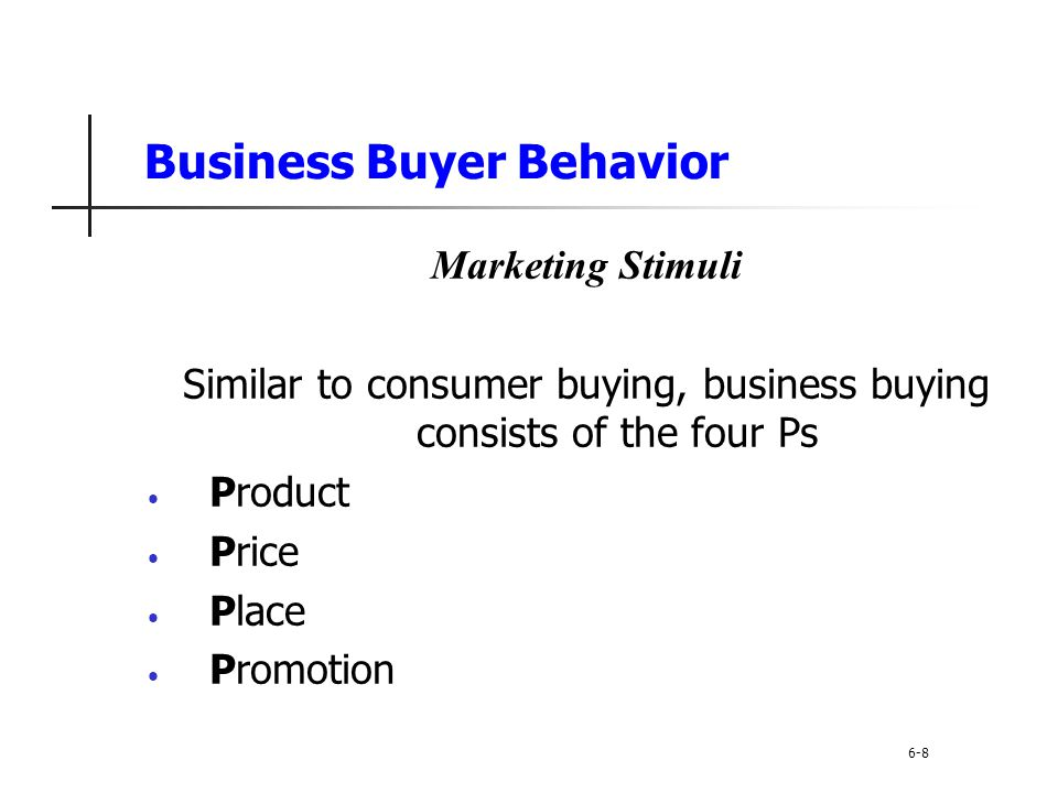 Business buyer behavior refers to the buying behavior of the organizations that buy goods and services for use in production of other products and services that are sold, rented, or supplied to others.