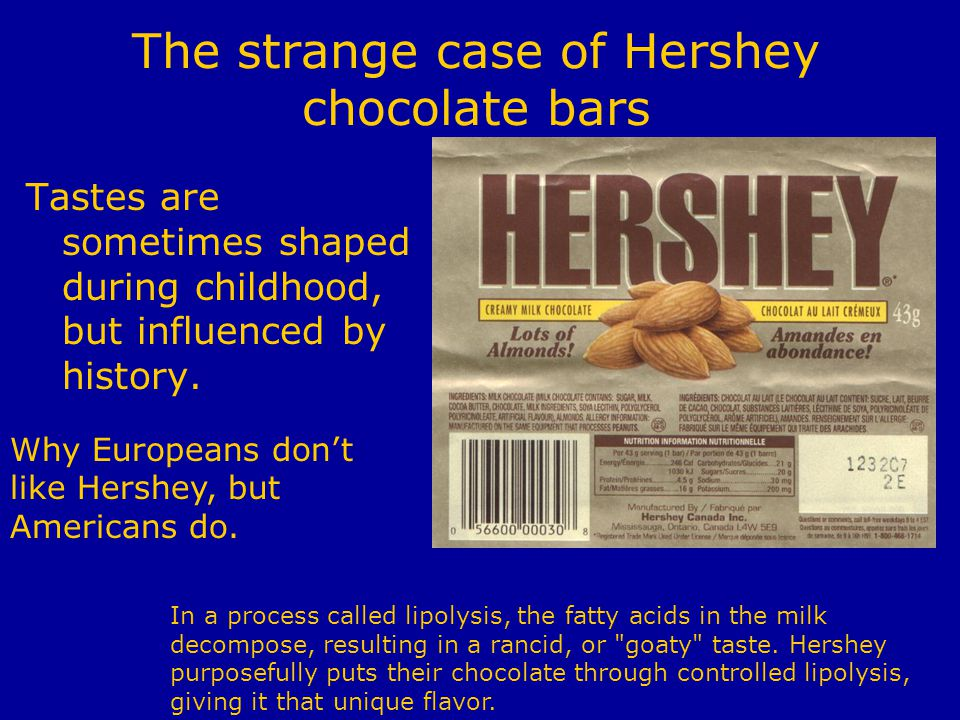 The strange case of Hershey chocolate bars Tastes are sometimes shaped during childhood, but influenced by history.
