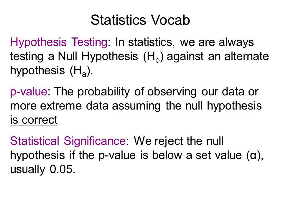 Hypothesis Testing: In statistics, we are always testing a Null Hypothesis (H o ) against an alternate hypothesis (H a ).