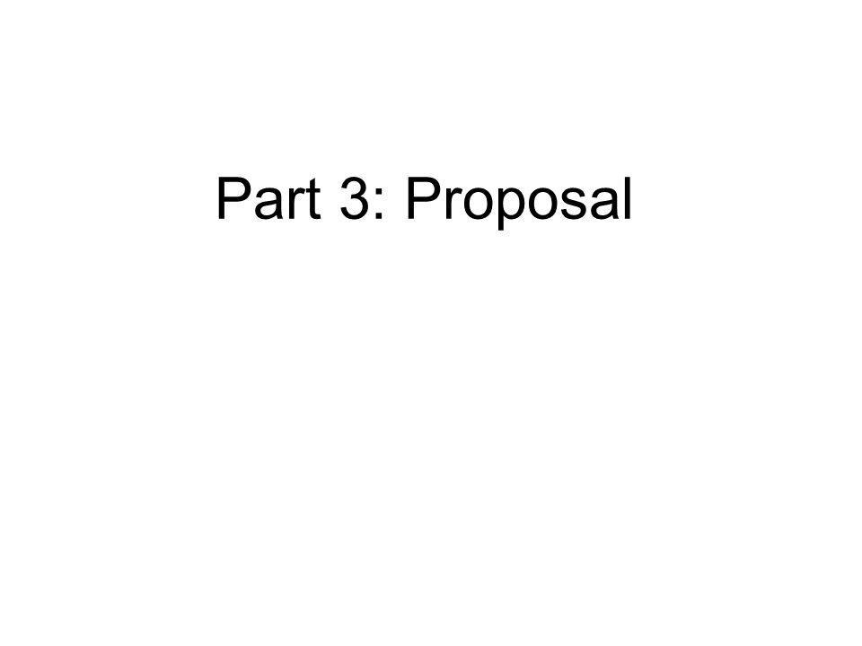 Part 3: Proposal