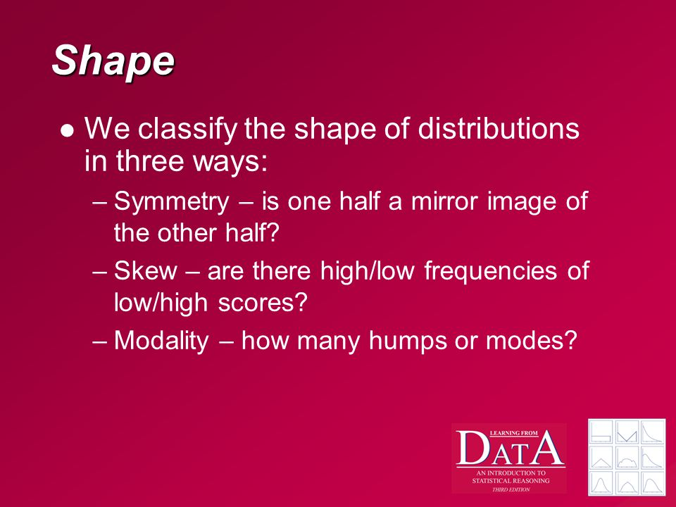 Shape We classify the shape of distributions in three ways: –Symmetry – is one half a mirror image of the other half.