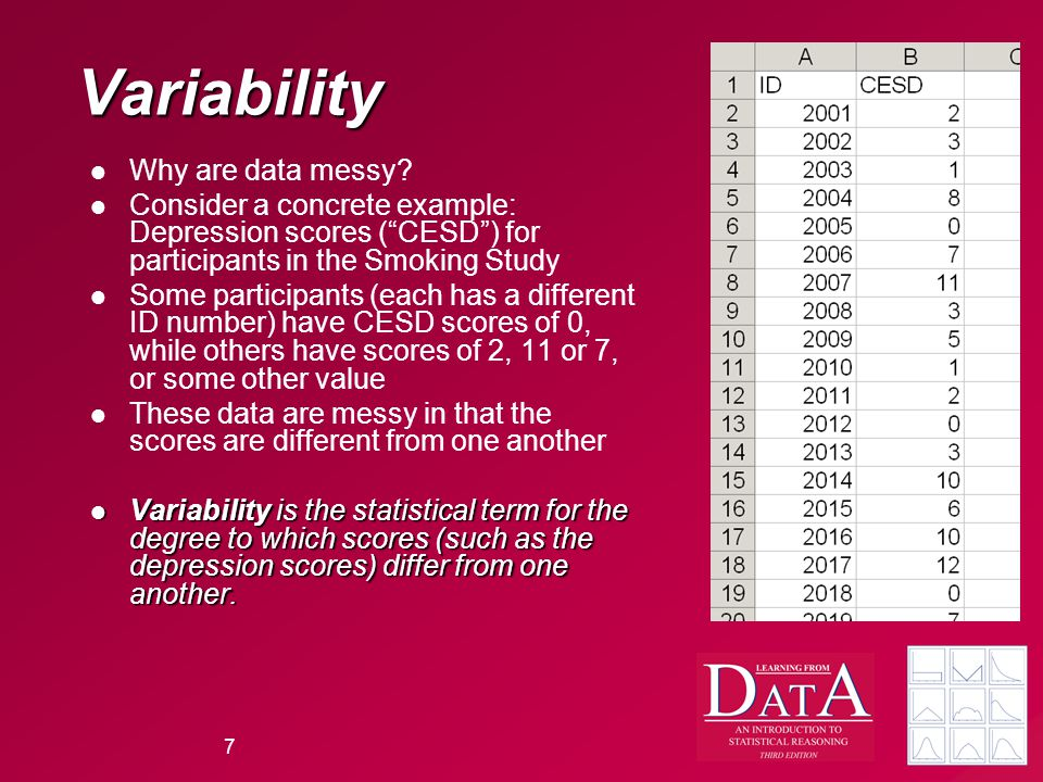 7 Variability Why are data messy.