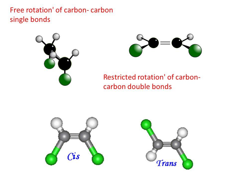 Free rotation' of carbon- carbon single bonds Restricted rotation' of carbon- carbon double bonds