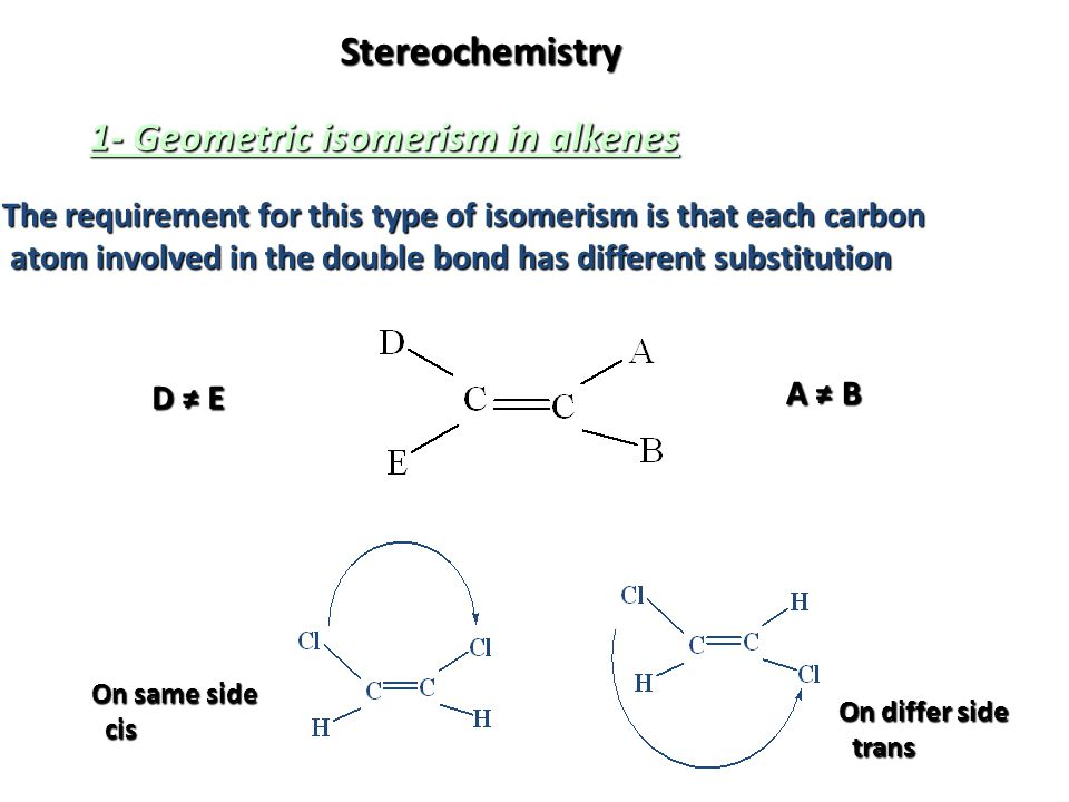 Stereochemistry 1- Geometric isomerism in alkenes The requirement for this type of isomerism is that each carbon atom involved in the double bond has