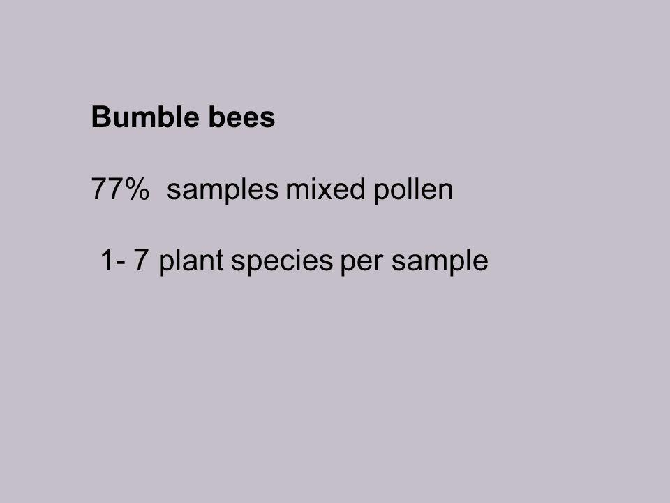 Bumble bees 77% samples mixed pollen 1- 7 plant species per sample