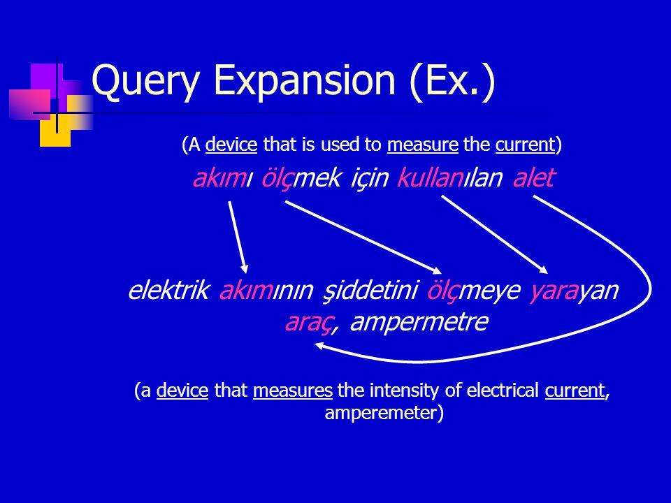 Query Expansion (Ex.) (A device that is used to measure the current) akımı ölçmek için kullanılan alet elektrik akımının şiddetini ölçmeye yarayan ara