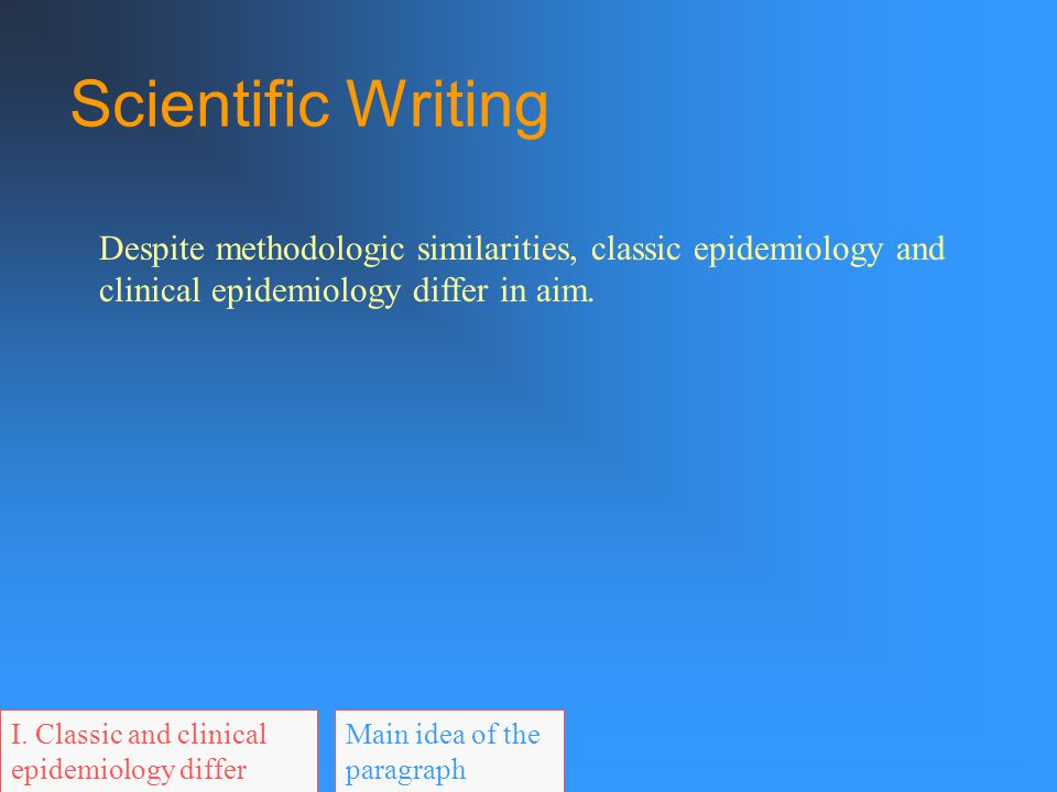 Scientific Writing Before you start writing, ask: What am I trying to say? When you finish writing, ask: Have I said it?