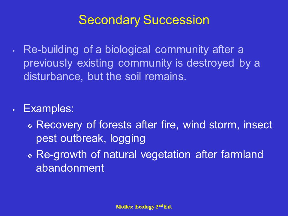 Molles: Ecology 2 nd Ed. Secondary Succession Re-building of a biological community after a previously existing community is destroyed by a disturbanc
