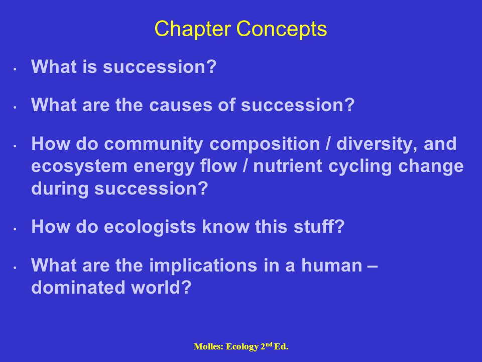 Molles: Ecology 2 nd Ed. Chapter Concepts What is succession? What are the causes of succession? How do community composition / diversity, and ecosyst