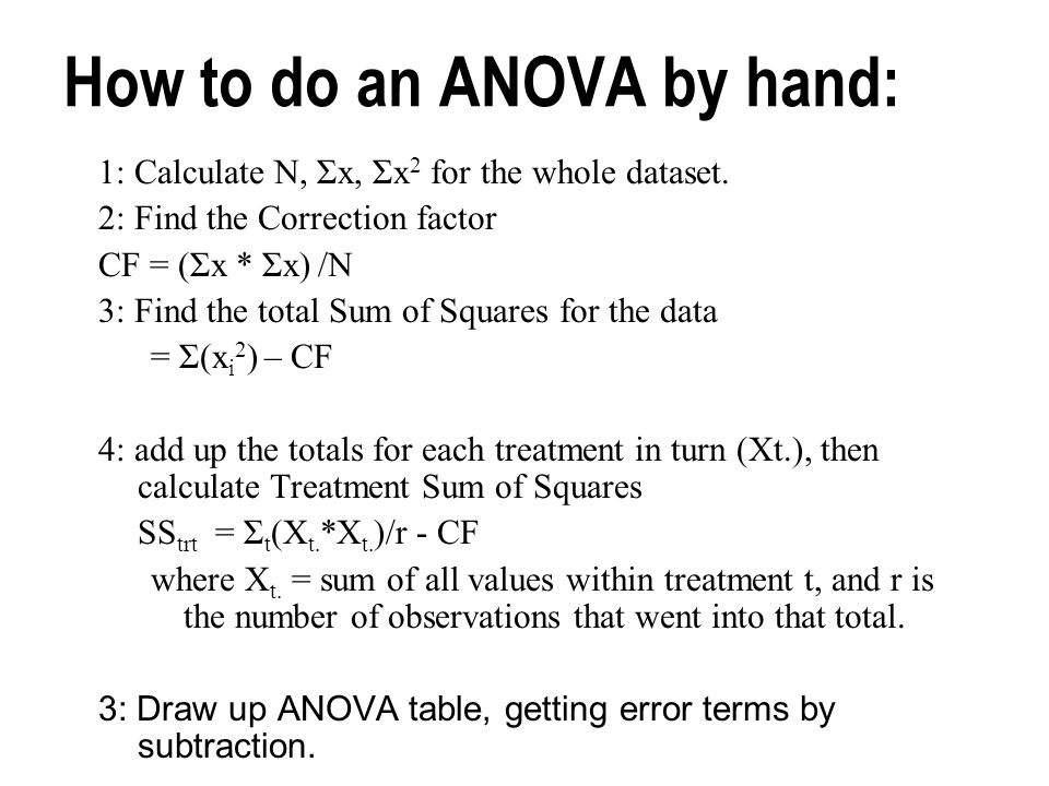 How to do an ANOVA by hand: 1: Calculate N, Σx, Σx 2 for the whole dataset.