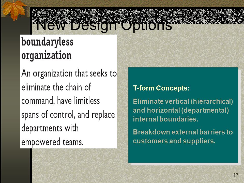 17 New Design Options T-form Concepts: Eliminate vertical (hierarchical) and horizontal (departmental) internal boundaries.