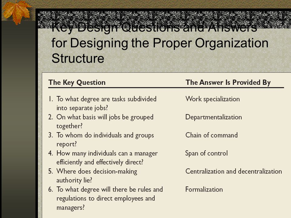 3 Key Design Questions and Answers for Designing the Proper Organization Structure
