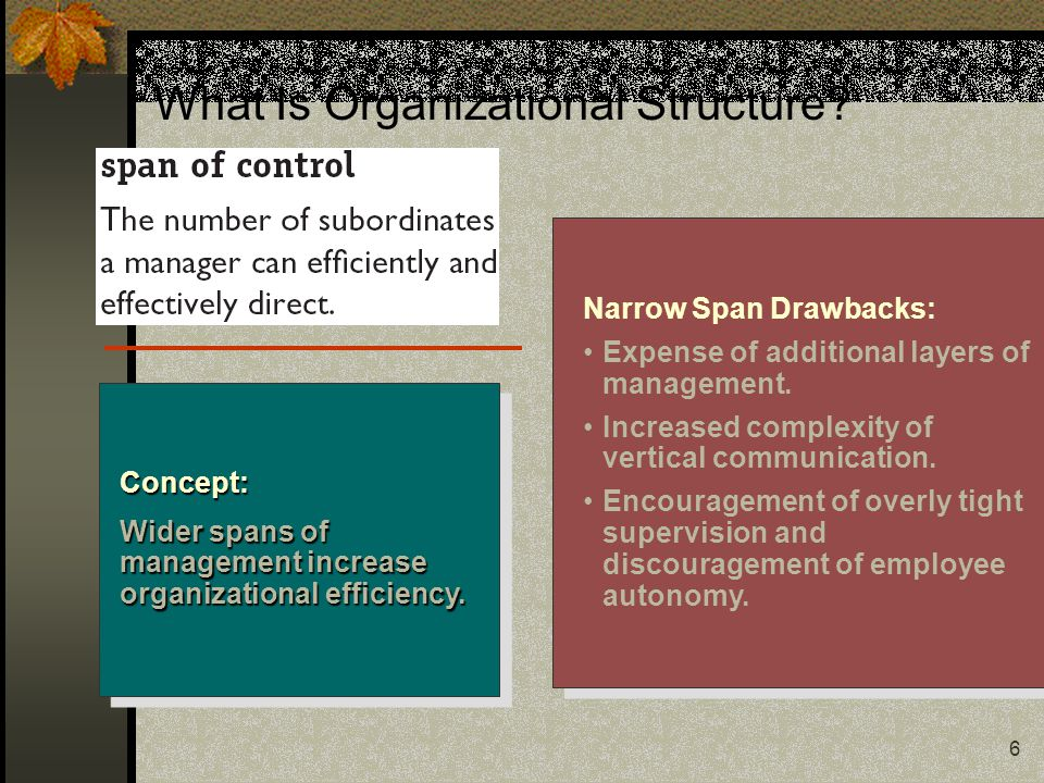 6 Narrow Span Drawbacks: Expense of additional layers of management.
