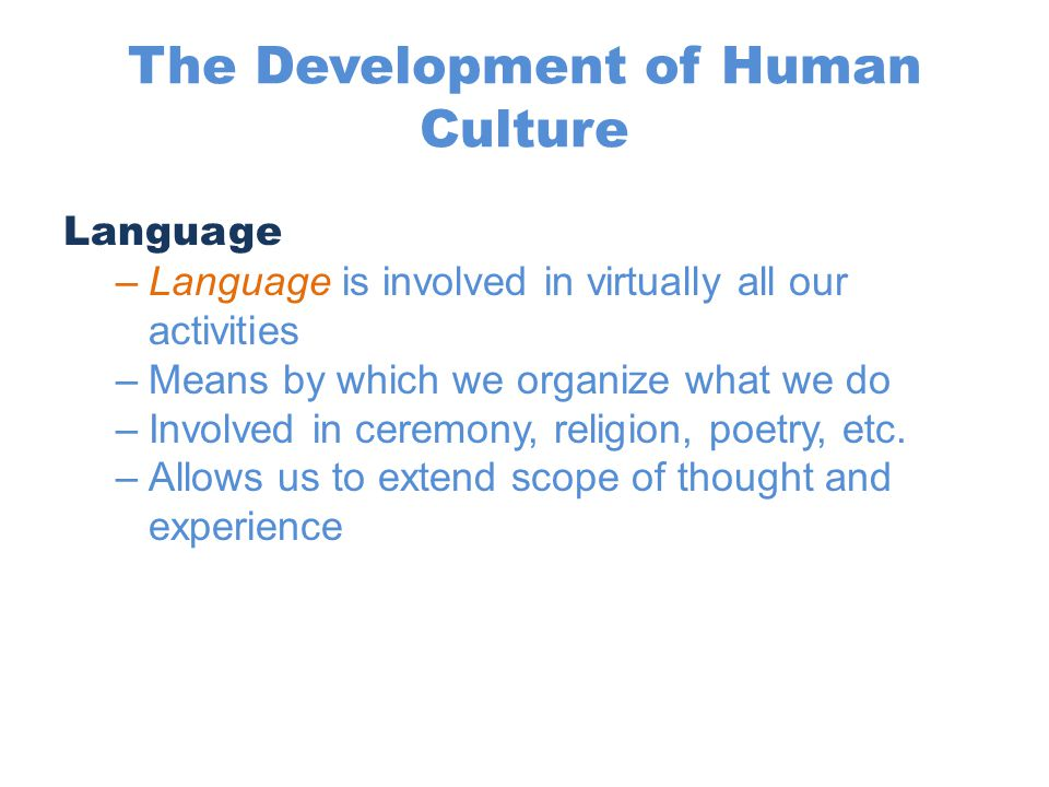 The Development of Human Culture Language –Language is involved in virtually all our activities –Means by which we organize what we do –Involved in ce