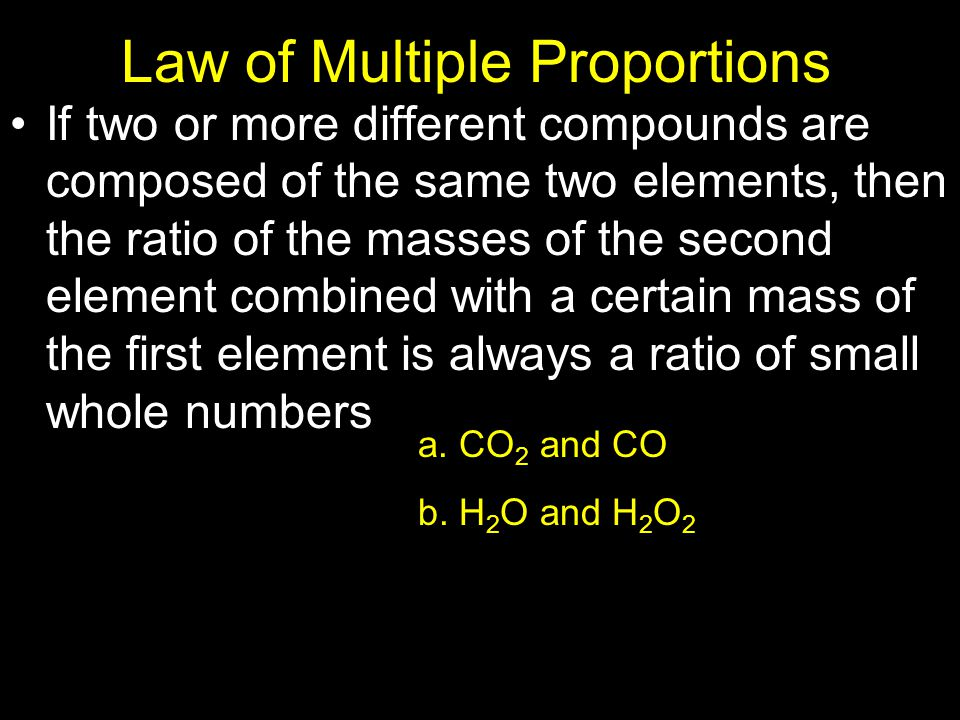 Law of Definite Proportions A chemical compound contains the same elements in exactly the same proportions by mass regardless of the size of the sampl