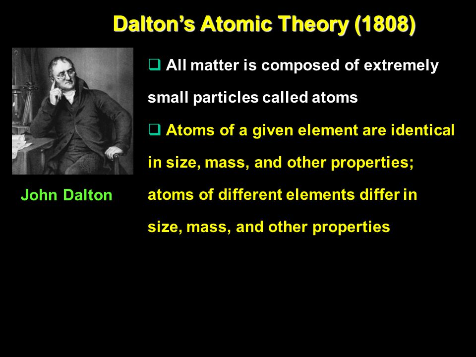 Dalton's Atomic Theory (1808)  All matter is composed of extremely small particles called atoms  Atoms of a given element are identical in size, mass, and other properties; atoms of different elements differ in size, mass, and other properties John Dalton