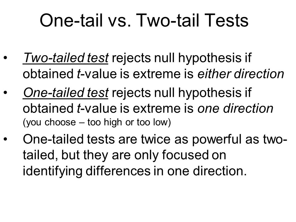 One-tail vs.
